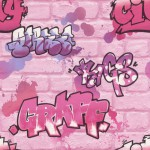 Tapeta KIDS & TEENS 272918 graffiti z delikatnym brokatem